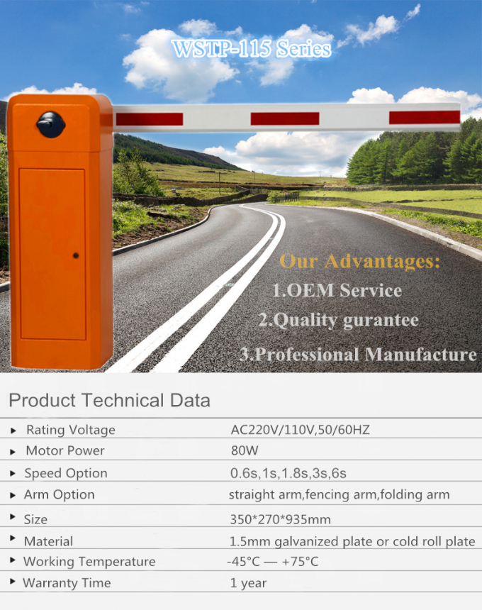 Boom Traffic Barrier Gate With Photocell Sensors , Automatic Car Parking Barriers